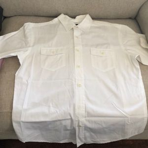 All white button down short sleeve gap shirt